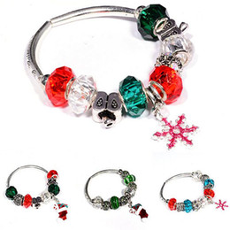 HOT Sale Silver Fit Bracelet With DIY Christmas Charm High Quality Murano Bead For Women Jewelry Gift