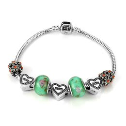 Wholesale Original European Silver Plated Glass Beads Charms Bracelet Vintage Heart Crown Bead Charm Bracelet Silver for Women Original Safety Cha