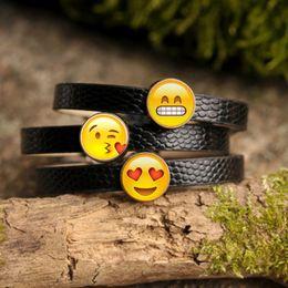 Wholesale Creative Funny Emoji Charm Bracelet Glass Cabochon Art Picture Fashion Jewelry Black Leather bangle bracelet for Women Gift