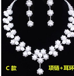 wonderful white diamond stone bride wedding jewelry set necklace earings uuiu