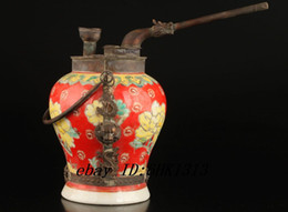 Unique Old Porcelain Hand-Painted Peony Copper Dragon Mouth Smoking Tool