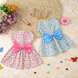 100Pcs Lot Spring Summer Cloth Elegant Pet Dog Round Collar Dress Floral Pattern Pet Skirt Dog Clothes Pink, Blue Two Colors Free Shipping