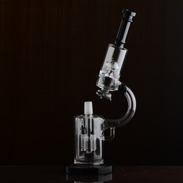 High quality Microscope Glass Bong with rocket perc and UFO perc balck top 65mm tube 18.8mm joint B03