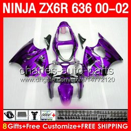 gloss purple 8gifts Body For KAWASAKI NINJA ZX6R 2000 2001 2002 purple black ZX 636 19NO158 ZX-6R 00 01 02 ZX636 600CC ZX 6R 00-02 Fairing