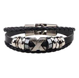 Promotion raccords en acier inoxydable 2016 Nouveau Bracelet en cuir Hommes Bracelet ManLeather lettre X Bracelet Bracelet Rétro raccords en acier inoxydable Punk