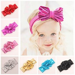 Wholesale baby christmas headbands for girls big Metallic bows headband infant bronzing hairbows children hair accessories infant cute hair bows