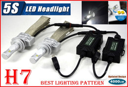 Wholesale 2016 Set H7 W LM S th LED Headlight System Kit LUMILED LUXEON ZES CHIPS SMD Fanless Aluminum Belt Driving Lamp Bulb Single Beam