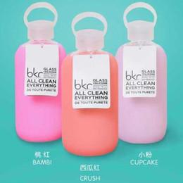 2017 porter coloré Bouteille 500mL Bkr verre d'eau Couverture colorée Conception silicone transporter une bouteille d'eau DHL OTH299 gratuit porter coloré à vendre