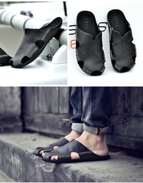 Pantuflas transpirables para hombre en Línea-Z. Suo verano zapatos casuales marrón, negro mens mens Baotou, sandalias transpirables blancas tamaño 39-44
