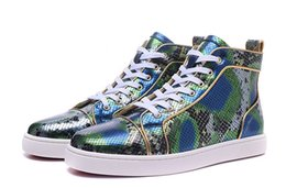 Wholesale Designer Bright Green Snakeskin With Gold Border Red Bottom Shoes France Luxury High Top Python Appartements Chaussures Hommes Femmes Party