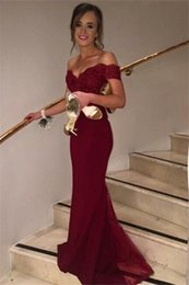 Custom Made Burgundy Mermaid Evening Party Dresses Off Shoulder Sequin Beads Long Chiffon Night Prom Gown