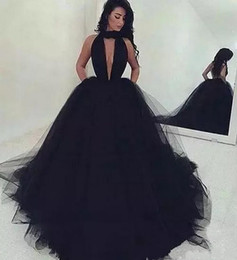 Arabic Sexy Backless Puffy Black Tulle Prom Dresses Long 2018 Ruched V Neck African Formal Party Dress Black Girls Quinceanera Ball Gowns
