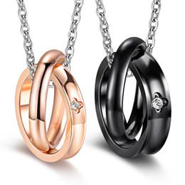 2pcs His and Her Stainless Steel Matching Necklace Set Mens Womens Couples Rings Hook Promise Pendant Valentine's Gifts