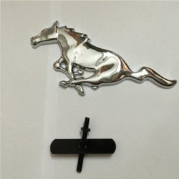 Wholesale 3D Silver Horse Logo Metal Alloy Car Auto Front Hood Grille Emblem Sticker for Ford Mustang Universal New