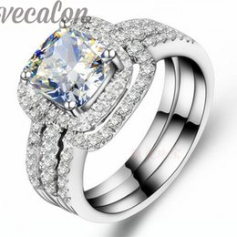 Vecalon Fashion ring cushion cut 3ct Cz diamond 3-in-1 Wedding Band Ring Set for Women 10KT White Gold Filled Engagement ring