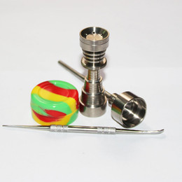 For Bongs 6 IN 1 Gr2 Titanium Nail Tool Set Domeless Titanium Nails with Carb Cap Tool Slicone Jar Container