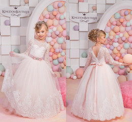 Wholesale 2016 New Adorable Fashion Cute Sleeves V Back Ruffle Ball Skirt Flower Girl Dresses Baby Toddler Party Little Girls Pageant Dresses