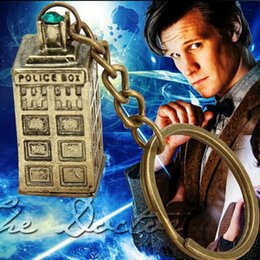 Wholesale 12pcs vintage Argent Bronze Doctor Who TARDIS Time machine spacecraft telephone booth police box key chain key rings men Hot y011