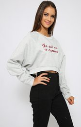 New Long Sleeve Embroidery Sweater Women Letters print Sweater Short Casual Sweater Sweatshirts Solid Color T-Shirt
