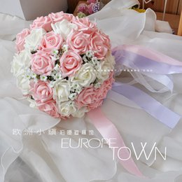 2016 New Pink with White Romantic Sweet Rose Bridal Bouquet Marrige Wedding Bouquets of Bridesmaid Accessories Celebration Props