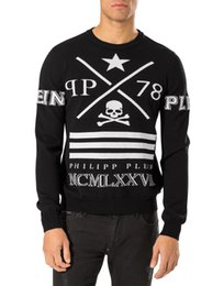 Wholesale Best price New arrivial qp qp78 skull PRINT men s round neck SWEATER pp Mens Hedging SWEATER