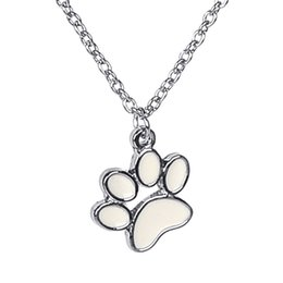 Wholesale handmade Paw Print Necklace enamel Pet Puppy Dog Paw Necklace Bear Cat pet Lover Paw Necklaces Decoupage Animal Paw Print Necklaces