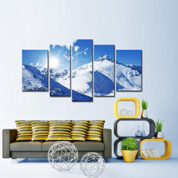5 Panel Blue Sky Snow-capped Mountains Photo Print on Canvas painting Pictures Home Art Wall Art Picture for Living Room