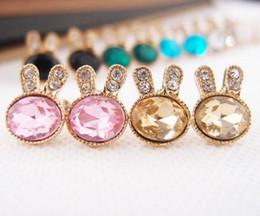 New Bunny Rabbit Stud Earrings Alloy Crystal Rhinestone Rabbit Exquisite Gemstone Earring Jewelry 2016 Fashion Free Shipping