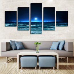 2016 New moon light sea night waves art oil painting For Wall Art Picture Unframed gift free shipping
