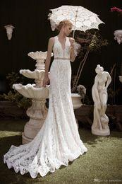 Wholesale Long Dresses Uk Online - 2016 New Arrival Two Pieces Mermaid Dress Plunging Apllique Lace Sexy Back Court Train Bridal Gowns Evening Dresses Online UK