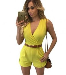 2016 Buckle Up Stylish Sexy Fashion Summer Romper Yellow White Black Red Blue Navy