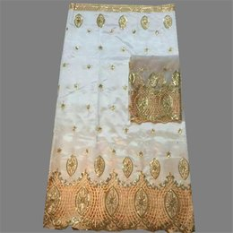 Hot sale george lace material(5yards pc) with sequins matching with 2yards of net lace fabric for blouse OG46