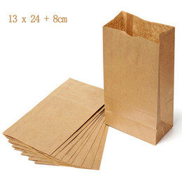 Wholesale 100 Environmental x24cm Brown Kraft Paper Food Packaging Bags Shopping Bags for Grocery Candy Take away Food