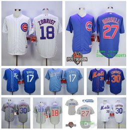 Wholesale 18 Ben Zobrist Michael Conforto jersey Addison Russell Wade Davis jersey home away jerseys size small S xl Cheap