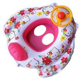 Cute Hello Kitty Baby swimming laps new Kids Swimming rings Trainer Seat Inflatable baby Boat with speaker