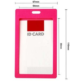 Free shipping Stylish 10 Pcs lot High quality Colorful plastic Business ID Badge Card Vertical Holders with Neck Strap Lanyard