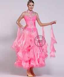 black pool pink embroidery flower customize Fox trot ballroom Waltz tango salsa Quick step competition dress