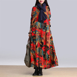 New Loose Plus Size Dress Long sleeve Inregular Linen Print Casual Fashion Women Lady Long dress