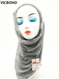 VICBOND Hot sale pure solid colour stripe viscose cotton scarf shawl pashmina women Muslim hijab fashion soft 10pcs lot