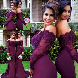 Country Beach Burgundy Lace Party Mermaid Long Sleeve Bridesmaid Dresses Arabic Off-shoulder Weddings Guest Party Dress