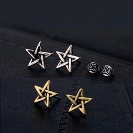 2016 Newest Gold Antique Vintage Star of David Stud Earrings For Women Superstar Small Pentagram Earrings Cheap Fashion Jewelry