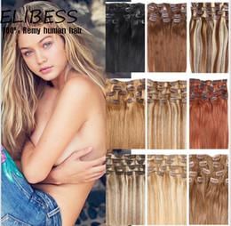 Grado superior 7A 100g / pc 8pc / set pelo humano verdadero del 100% / pinzas de pelo lndian en alta calidad principal llena recta verdadera de las extensiones desde extensión del pelo humano clip de la cabeza llena fabricantes