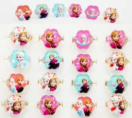 Fashion Ring Snow Princess Elsa Anna Children Finger Toys Flower Heart Round style 100pcs lot send at radom Best gift for Girls