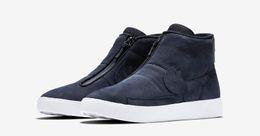 Wholesale 2016 Midtop Couple Lovers Sneakers Lab Blazer Advanced Premium Black Blue Skate Shoes Street Zipper shoes
