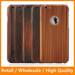 Wholesale Hot Bamboo Wood Wooden Printing Pattern Hard Back Case with Clear Tempered Galass Screen Protector Plastic Case for iPhone s s Plus