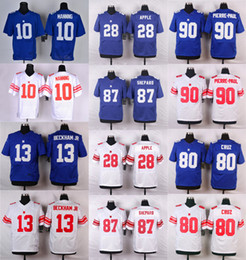 Wholesale Elite Eli Manning Victor Cruz Odell Beckham Jr Royal Blue Name Number Logo Stitched Mens Jerseys