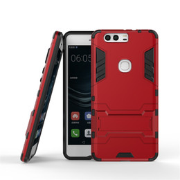 Wholesale 2016 Hybrid Heavy Duty Armor Cover For HUAWEI P9 Kickstand Call Phone Case Tough Shockproof PC TPU Fashion Shell pc up