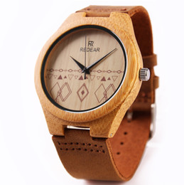 New Arrival Mens Wood Watch Natural Bamboo Wooden Watch with Brown Leather Strap Japanese Quartz Movement Casual Watches