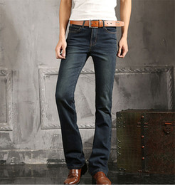 Wholesale Mens Blue Jeans Plus Size to Jean Flare Bell Bottom Flare Boot Cut leg Slightly Pants Trousers For Men