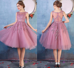 $59 Cheap Red Homecoming Dresses Beads Crystals Sequins Tulle A Line Knee Length Cocktail Party Short Prom Dresses High Quality